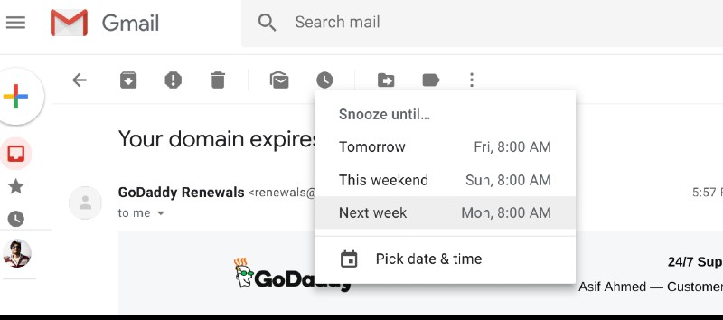 Snooze Emails in New Gmail