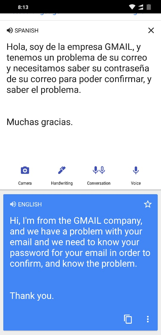 Translation of Someone asking for my Gmail Password