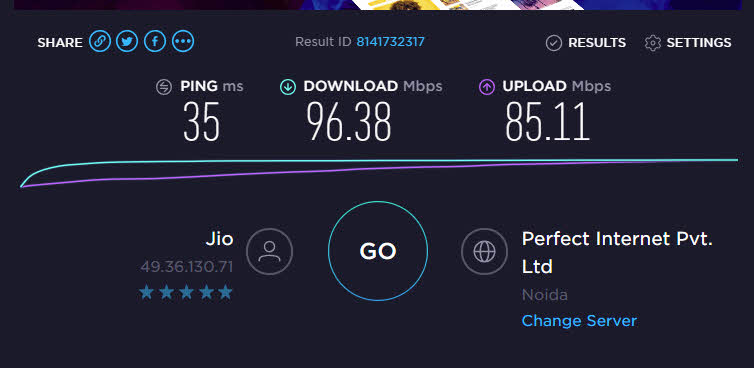 Jio GigaFiber Speedtest on desktop Eathernet