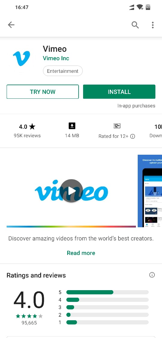 Try Now opion in Vimeo app