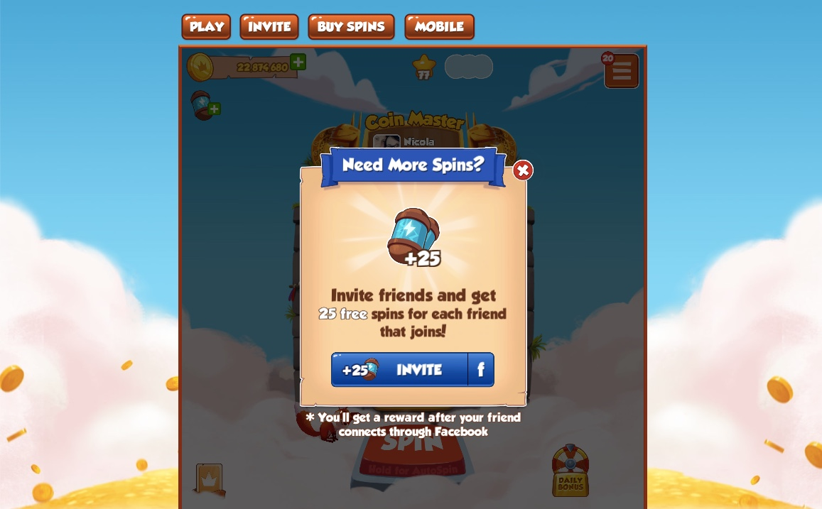 Get 25 Spins by Inviting FB Friends