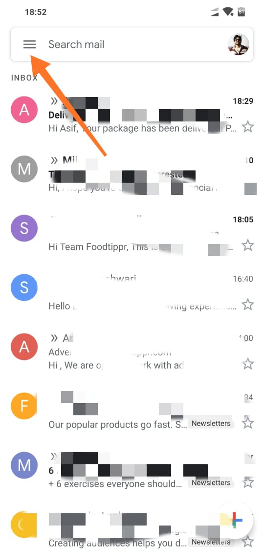 Tap on three lines on top left in gmail app