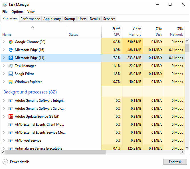 Task Manager Showing Resource Usage of Edge Browser