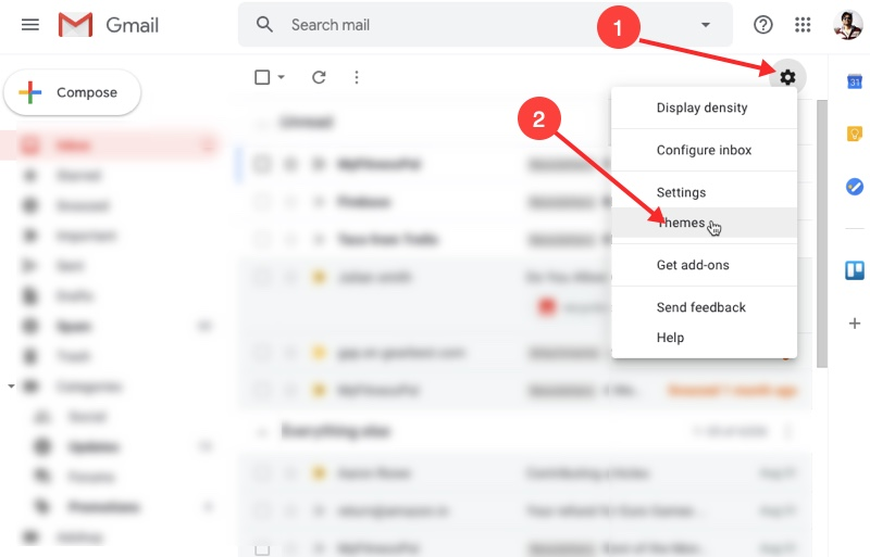 Enabled Dark Mode in Gmail