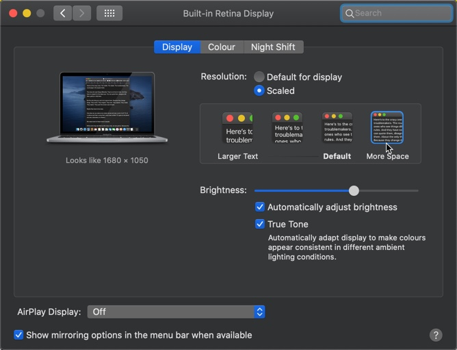 High Resolution in MacBook Pro
