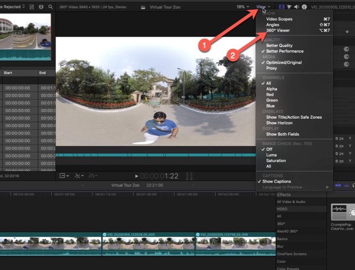 Enabled 360 Viewer in FCPX
