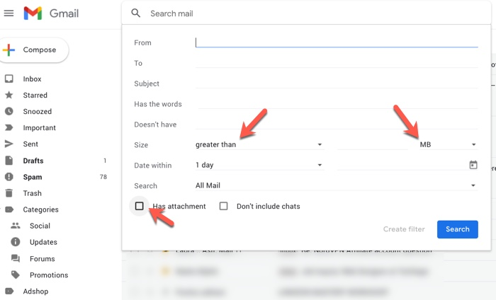 Gmail Search for Attachment Diles